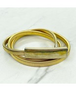 Gold Tone Stretch Coil Bar Buckle Belt One Size OS - $17.44