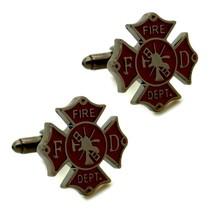 Fireman Shield Cufflinks Firefighter Fire Department W Gift Bag Groom Wedding - $11.88