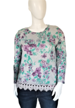 Bonworth Women's Long Sleeve Top with Wide Lace Trim Size L image 1