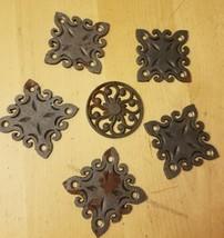 6 Piece LOT Steampunk Weld Art Decor Square Circle Ornate Fence Plates S... - $14.54