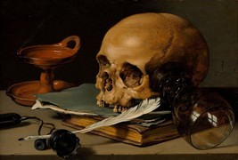 Still Life with Skull 1628 by Pieter Claesz (Dutch) Old Masters 11x16 Print - $29.69
