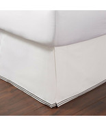 HUDSON PARK - Italian Linens White with Charcoal Stitching Queen Bedskirt - $59.39