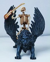 6.25 Inch Resin Skeleton Guitar Riding Lion with Wings Statue Figurine - $21.53