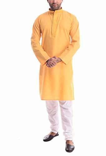 Primary image for ROYAL Men Designer Cotton Linen Embroidered Kurta Set Yellow