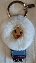 Coach Leather and Fur Eskimo Keychain Key Fob 92796 NWOT Mink  - $47.00