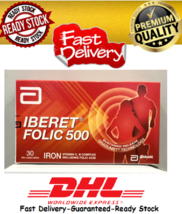 2 X Abbott Iberet Folic 500 30's Iron Vitamin C, B Complex Including Folic Acid - $53.70