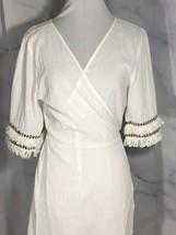 Asos White Wrap Dress Cotton Fringe On Sleeve UK 12 USA Size 8 Knee Length - $39.11