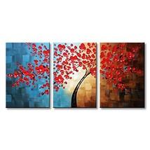 Winpeak Art Hand Painted Red Flower Oil Painting Large Framed Modern Flo... - $122.71