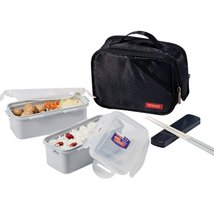 Lock & Lock Bento Lunch Box Square Jumbo Lunch Box Set (Black) - $26.72
