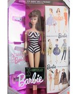 Barbie 35th Anniversary Doll (Brunette Hair) Reproduction 1959 Doll & Pa... - $36.38