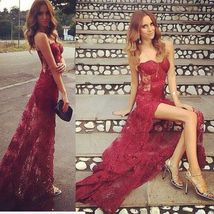 Burgundy Sexy Mermaid Sweetheart Evening Dresses Lace  Party Gowns Prom Dresses - $159.00