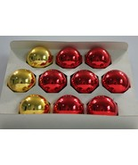 """Vintage Holly Glass Ornaments Red and Gold 2 5/8"""" Set of 10 USA Made  - $14.50"""
