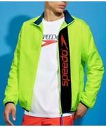 Speedo Rain Jacket Lightweight Windbreaker Neon Line Green Zip Front Men... - $24.55