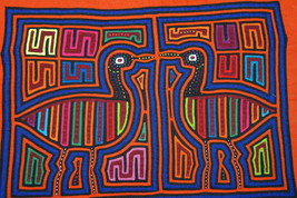 Kuna Abstract Mola Hand Stitched Applique Folk Art Flamingo Bird Illusio... - $56.99
