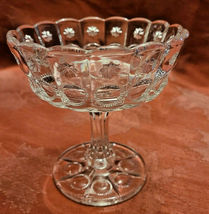 Vintage Standing Candy Dish Compote Open Stemmed Starburst Pattern image 6