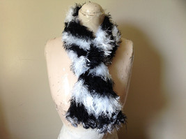 Black White Striped Magic Fuzzy Circle Scarf Can Be Worn Multiple Ways NO TAGS image 1