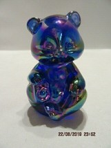 FENTON ART GLASS 2000 COBALT OPALESCENT BLUE MINI BEAR FIGURINE - $35.00