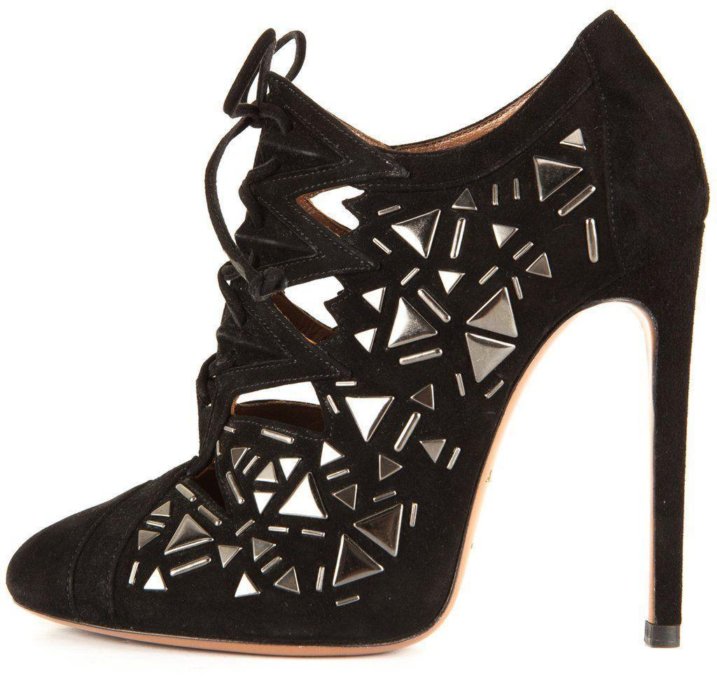 b6a94774fcb $2490 Azzedine Alaia Black Suede Boots Stud and 50 similar items