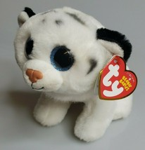 Ty Tundra B EAN Ie Babies White Tiger Plush w/ Tag Blue Glitter Eyes Nov 29 - $7.95