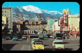 Colorado Springs Postcard Colorado Pike's Peak Storefronts Cars Signage ... - $12.50