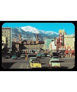 Colorado Springs Postcard Colorado Pike's Peak Storefronts Cars Signage ... - $12.50