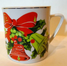Lefton Christmas Red Ribbon and Bells Coffee Cup Vintage - $7.87