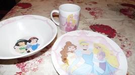 Disney Snow White Ariel Princess Sleeping Beauty Bowl Plate Cup 3 Pc. Set - $24.70