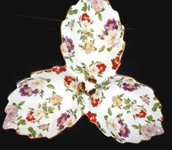 NEW Royal Danube Sectioned Serving Dish Multicolored Roses & Gold trim  ... - $14.85
