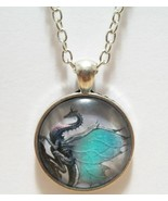 Blue Winged Dragon Glass Cabochon Pendant Necklace SC517 - $6.98