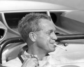 Steve McQueen smiling smoking cigarette in racing car 8x10 Photo - $7.99