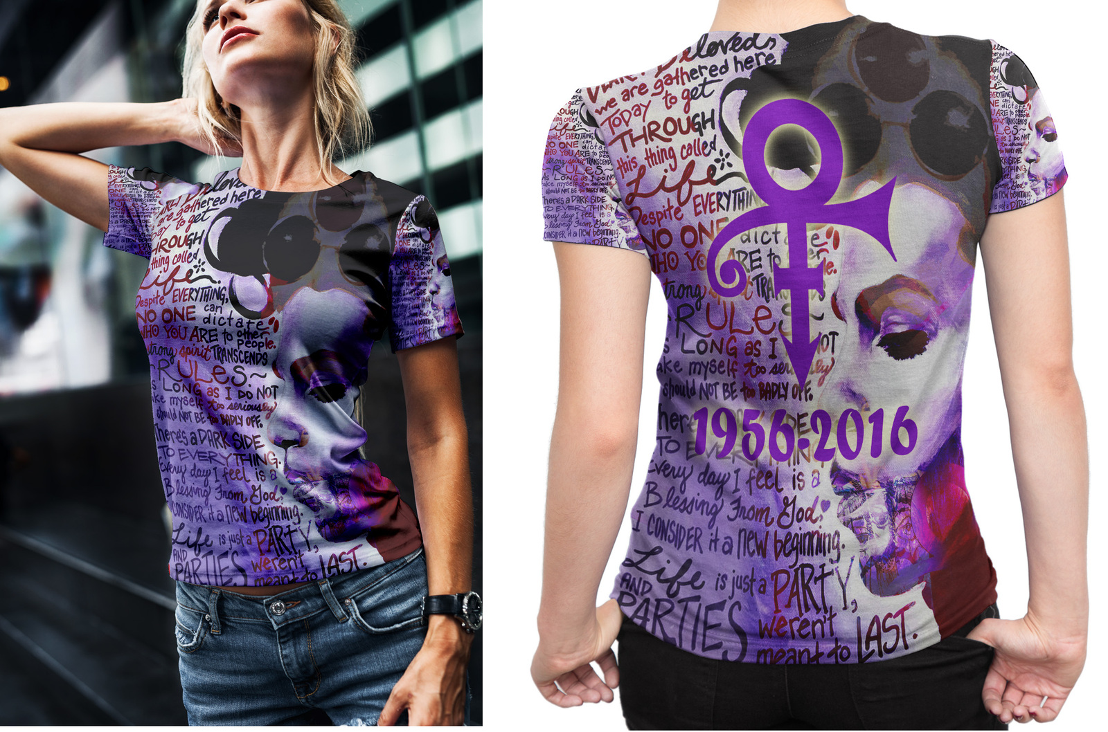Prince Memorial Quote Tee Women's Fullprint T-shirt