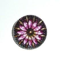 Beautiful Large Czech Glass Flower Button - Pink Green  w/ Gold Finish  ... - $7.79