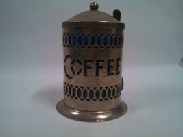 Silverplate Coffee Canister Cobalt Blue Plastic Liner Sheffield England ... - $29.94