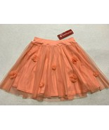 NWT American Girl 14 Coral Floral Tulle Rosette Skirt Elastic Waist My AG - $18.99
