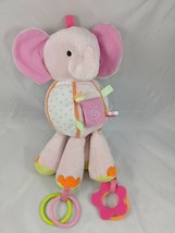 "Carter's Pink Elephant Rattle Activity Plush Rings 11"" Stuffed Animal toy - $6.95"