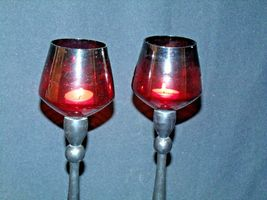 Red Cut Glass Candlestick Holders AB 312 Vintage image 6