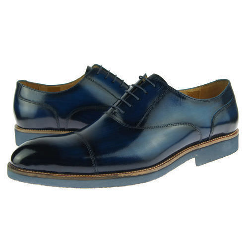 Burnished Blue Color Magnificiant Rounded Cap Toe Leather Fashion Oxford Shoes - $139.90 - $229.99