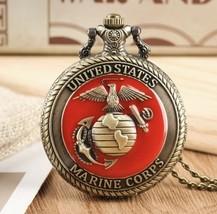 Vintage United States Marine Corps Quartz Pocket Watch Pendant Necklace ... - $79.19