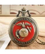 Vintage United States Marine Corps Quartz Pocket Watch Pendant Necklace ... - $79.19