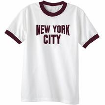 NEW YORK CITY Classic Mens Short Sleeve Ringer T-Shirt Port Co White Mar... - $10.56