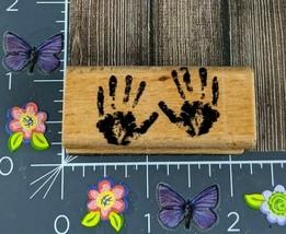 StampCraft Rubber Stamp Hand Prints Wood 440D29 #C47 - $7.42