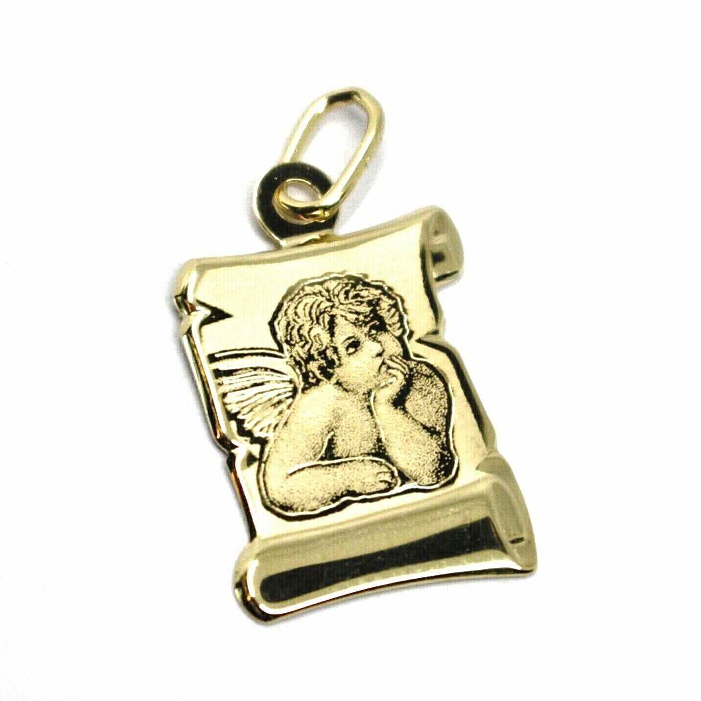 SOLID 18K YELLOW PARCHMENT GOLD MEDAL GUARDIAN ANGEL 18 mm LENGTH VERY DETAILED