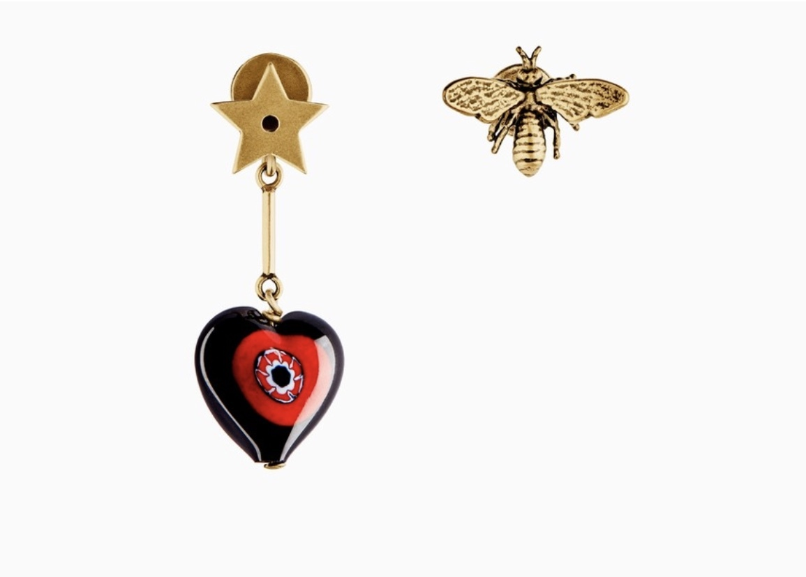 "Primary image for AUTH Christian Dior 2018 ""D-MURRINE"" HEART BEE EARRINGS AGED GOLD MURANO GLASS"