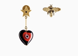 "AUTH Christian Dior 2018 ""D-MURRINE"" HEART BEE EARRINGS AGED GOLD MURANO GLASS"