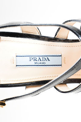 Prada  Black Patent Leather Strappy Cage Platform High Heel Sandals SZ 38.5