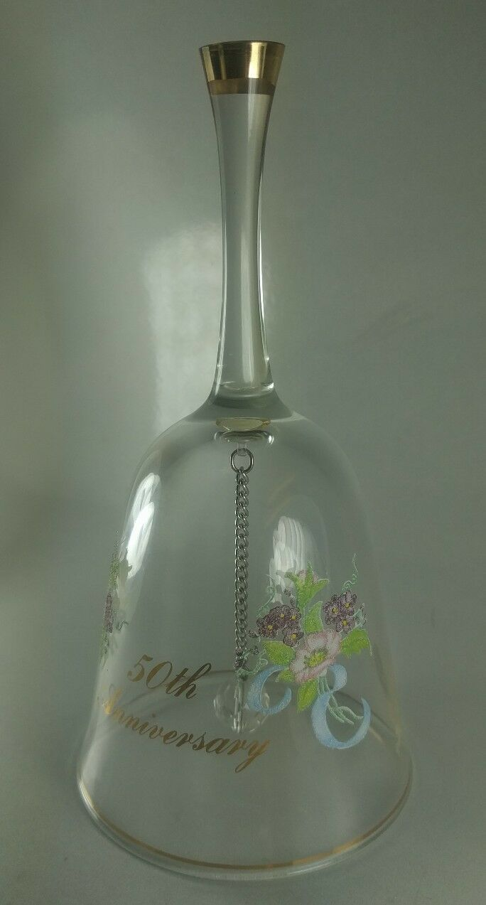 Primary image for Gorgeous Fenton 50th Anniversary Bell Excellent Condition Flowers With Gold trim