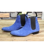 Handmade Chelsea Boot Sky Blue Color Side Elastic Slip On Suede Leather ... - $149.99+