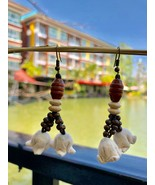 Cute Beaded earrings, handmade flower with wood beads and leather strings - $19.75