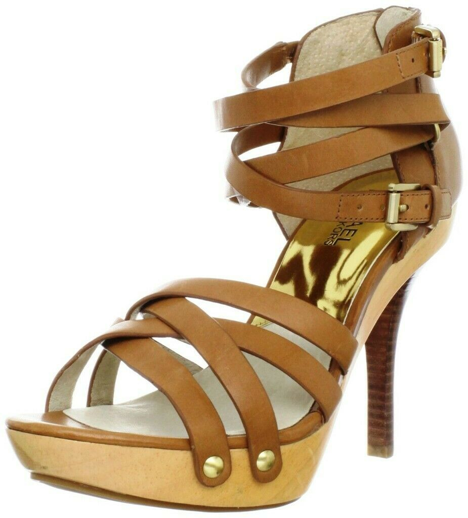 Primary image for Womens Michael Kors LEONIA Plarform Sandals Strappy Heels Luggage Leather 7.5