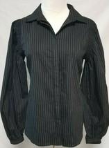 NWT Worthington Button Down Black & White Pinstripe Long Sleeve Blouse S... - $7.91